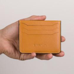 Anı Yüzük Name Written Cardholder Wallet Black Detailed Mustard Color - Thumbnail