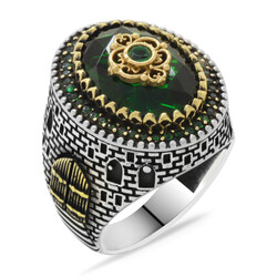 Kale Design 925 Sterling Silver Green Zirconia Faceted Mens Ring - Thumbnail