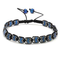 Tesbihane - Wing Design Braid Grey Blue Hematite Bracelet