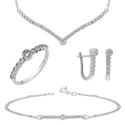 Tesbihane - Wing Design Zirconia 925 Sterling Silver Galaxia 4 pcs Accessory Set