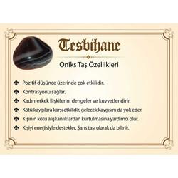 Tarnishing of metal Ayyıldız Tasseled Barley Cut Onyx Natural Stone Tasbih - Thumbnail