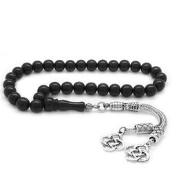 Tarnished metal with double kazaz and tassel, cut into a ball, Oltu Russian rosary - Thumbnail
