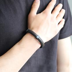 Tesbihane - Braid Brown Leather Steel Men's Bracelet