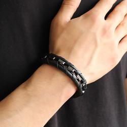 Tesbihane - Braid Black Leather Steel Men's Bracelet