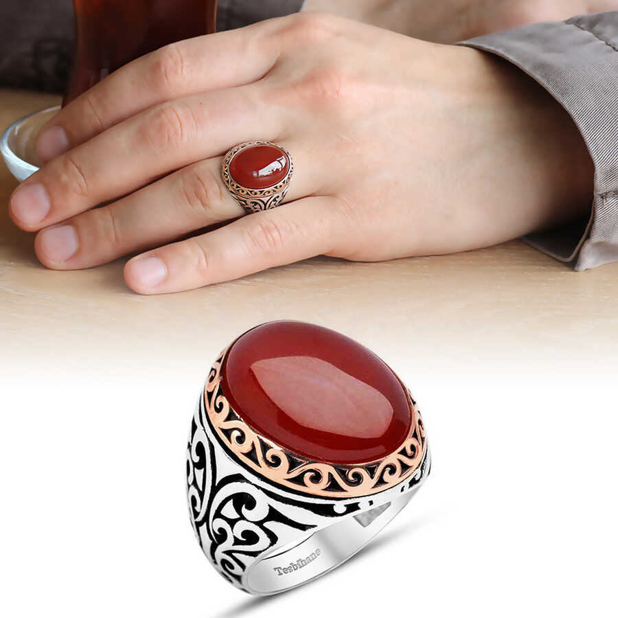 Red Agate 925 Sterling Silver Mens Ring