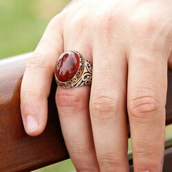 Red Agate 925 Sterling Silver Mens Ring - Thumbnail