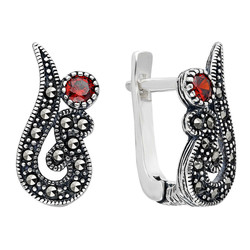 Tesbihane - Red Zirconia Marcasite 925 Sterling Silver Earrings