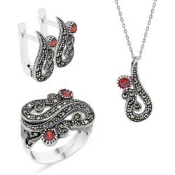 Tesbihane - Red Zircon 925 Sterling Silver 3 pcs Accessory Set