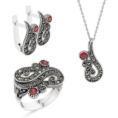 Red Zircon 925 Sterling Silver 3 pcs Accessory Set