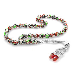 Red Zircon Stone Stain Mosaic of Barley Cut Amber Rosary with Metal Tassels - Thumbnail