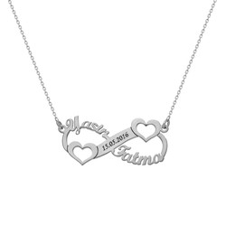 Tesbihane - Customized Eternity Heart 925 Sterling Silver Necklace