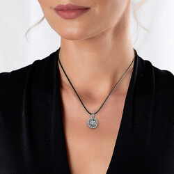 Personalized Sevshen 925 Sterling Silver Necklace with Allah Arabic Letter - Thumbnail
