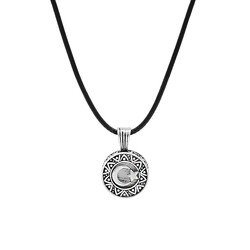 925 sterling silver necklace with personalized design with crescent and star logo - Thumbnail