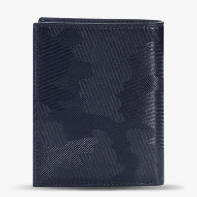Anı Yüzük Navy Blue Camouflage Pattern Classic Leather Wallet