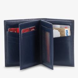 Anı Yüzük Navy Blue Camouflage Pattern Classic Leather Wallet - Thumbnail
