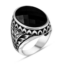 Anı Yüzük - Lale Motifli Faset Kesim Siyah Zirkon Taşlı Gümüş Erkek Yüzük