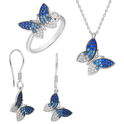 Tesbihane - Blue-White Zircon Butterfly 925 Sterling Silver 3 pcs Accessory Set