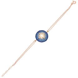 Tesbihane - Blue-White Zirconia Star Design 925 Sterling Silver Women's Bracelet