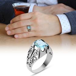 Tesbihane - Blue Zirconia Minimal Design 925 Sterling Silver Men's Ring