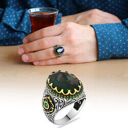 Men's 925 Sterling Silver Ring with Green Zirconia Stone