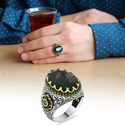 Men's 925 Sterling Silver Ring with Green Zirconia Stone - Thumbnail