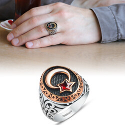 Men's ring in 925 sterling silver with red cubic zirconia and moon star motif - Thumbnail