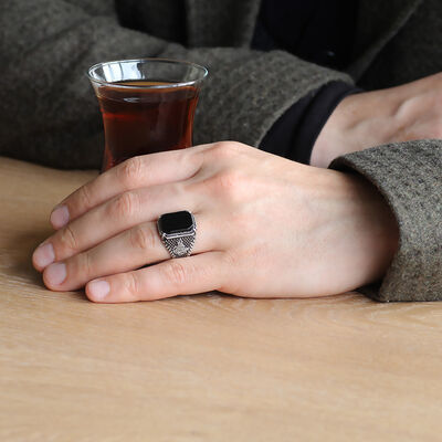 Dots Embroidered Tugra Motif Men's Ring with Black Onyx and Stone 925 Sterling Silver