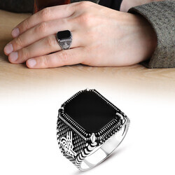 Dots Embroidered Tugra Motif Men's Ring with Black Onyx and Stone 925 Sterling Silver - Thumbnail