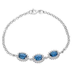 Tesbihane - Oval Blue Zirconia 925 Sterling Silver Bracelet