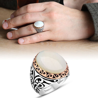 Special Designer White Mother of Pearl 925 Sterling Silver Mens Ring