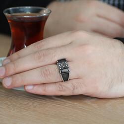Polka Dot Embroidered Black Zirconia 925 Sterling Silver Men Ring - Thumbnail