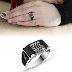 Polka Dot Embroidered Black Zirconia 925 Sterling Silver Men Ring