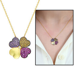 925 sterling silver necklace with colorful zircon stone sunflower design - Thumbnail