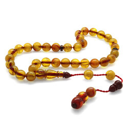 Orb of systematic cut Elegant imitation of a yellow stick Tightened amber tasbih - Thumbnail
