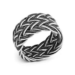Tesbihane - Black&White Tramzon Braid Kazaz 1000 Sterling Silver Ring
