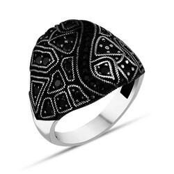 Anı Yüzük - Siyah Mini Taş Özel Tasarımlı Gümüş Erkek Yüzük
