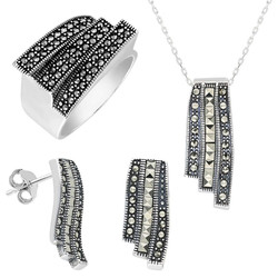 Tesbihane - Black Zircon Embroidered 925 Sterling Silver 3 pcs Accessory Set