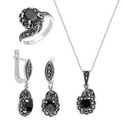 Tesbihane - Black Zircon 925 Sterling Silver 3 pcs Accessory Set