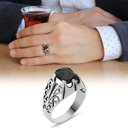 Tesbihane - Black Zirconia Minimal Design 925 Sterling Silver Men's Ring