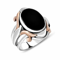 Special Design Black Onyx Stone 925 Sterling Silver Men's Ring - Thumbnail