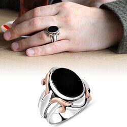 Special Design Black Onyx Stone 925 Sterling Silver Men's Ring