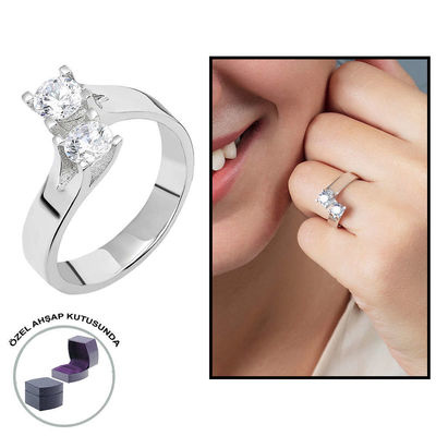 Starlight Diamond Monter Asymmetric 925 Sterling Silver Women's Double Stone Ring