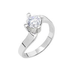 Tesbihane - Starlight Diamond Monter Asymmetric 925 Sterling Silver Women's Solitaire Ring