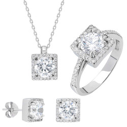 Tesbihane - Starlight Diamond Monter Square 925 Sterling Silver Women's Solitaire 3 pcs Accessory Set