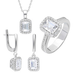 Tesbihane - Starlight Diamond Monter Mini Baguette 925 Sterling Silver Women's 3 pcs Accessroy Set