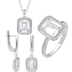 Tesbihane - Starlight Diamond Monter Elegant Baguette 925 Sterling Silver Women's 3 pcs Accessroy Set