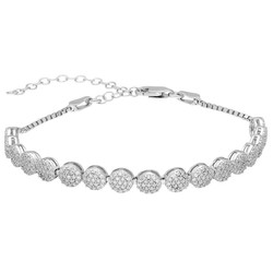 Tesbihane - Starlight Diamond Monter Elegant 925 Sterling Silver Women's Waterway Bracelet