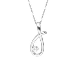Tesbihane - Starlight Diamond Monter Solitaire Elegant 925 Sterling Silver Women's Necklace
