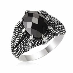 925 Sterling Silver Mens Ring with Embroidered Black Zirconia Eagle Claw - Thumbnail