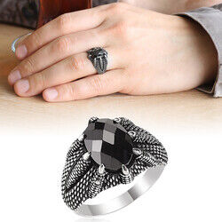 925 Sterling Silver Mens Ring with Embroidered Black Zirconia Eagle Claw